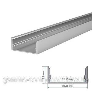 Алюмінієвий профіль широкий анодований для светодидных стрічок ПФ-25 накладної, 2м