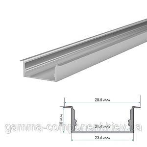 Алюминиевый профиль широкий анодированный для светодидных лент ПФ-26 врезной, 2м