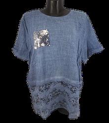 Жіноча футболка з паєтками Catherine 8540 60 світло-синя