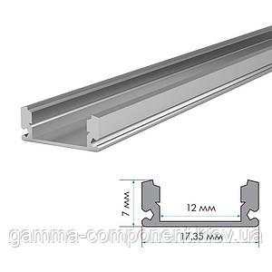 Алюминиевый профиль анодированный для светодидных лент ПФ-15 накладной, рассеиватель полуматовый, 1м