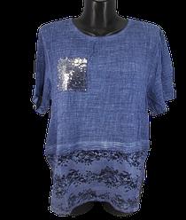Жіноча футболка з паєтками Catherine 8540 56 синя