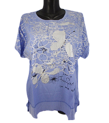 Жіноча футболка Levisha 50240 3XL-4XL блакитна