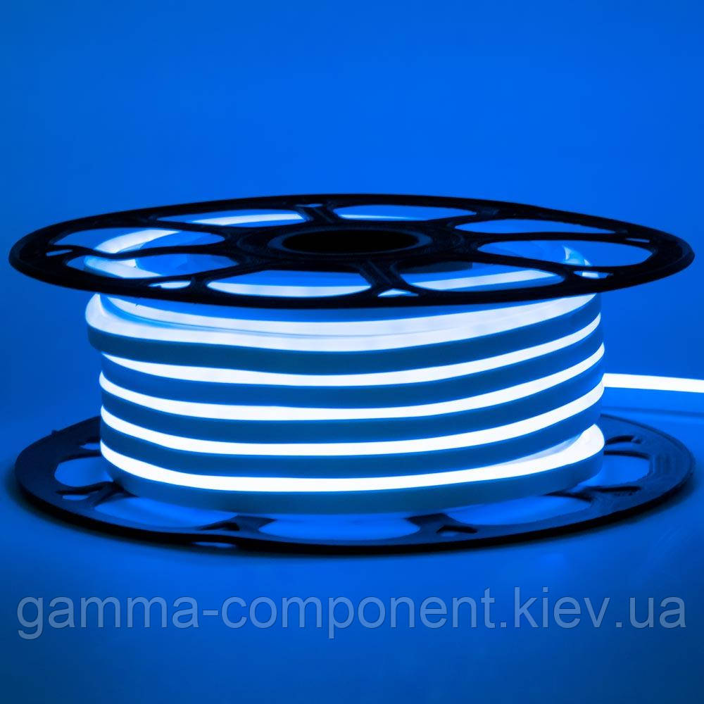 Светодиодный неон 12В синий smd 2835-120 лед/м 6Вт/м, 8*16мм ПВХ