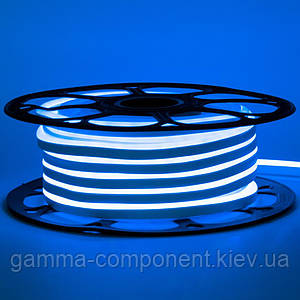 Світлодіодний неон 12В синій smd 2835-120 лід/м 6Вт/м, 8*16мм ПВХ