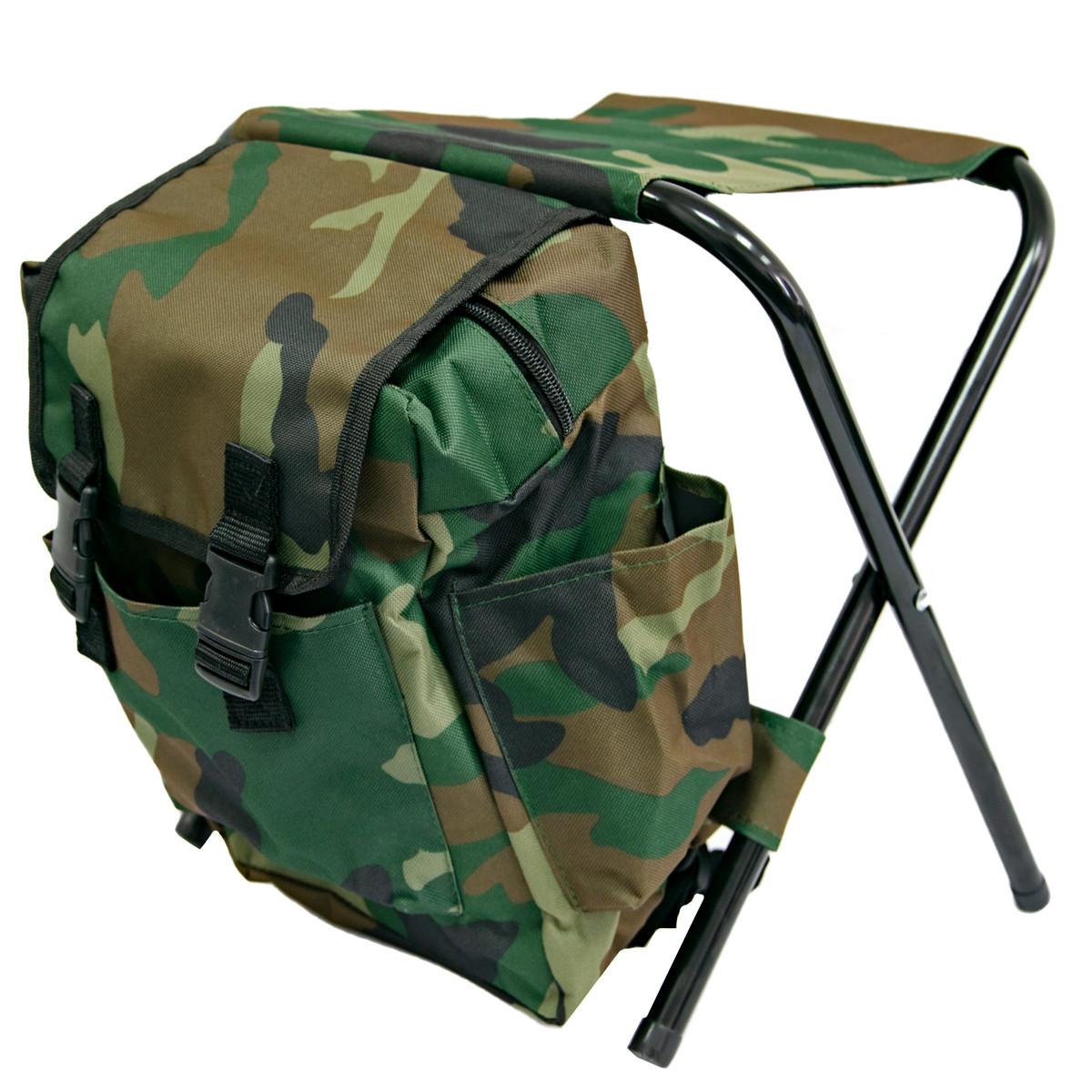 Складной стул рюкзак для рыбалки 35х34см Хаки, стул раскладной для пикника, туристический (ST)