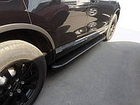 Kia Sportage 2004-2010 гг. Боковые пороги Tayga Black (2 шт., алюминий)