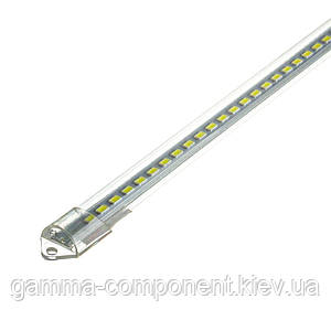 Світлодіодна лінійка 8Вт SMD3014 60см, 6000-6500K, білий холодний, прозорий пластик, 220V, 64led, IP33