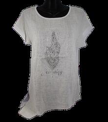 Жіноча футболка зі стразами Levisha 50285 4XL молочна з білим