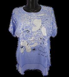 Жіноча футболка Levisha 50240 2XL-3XL блакитна