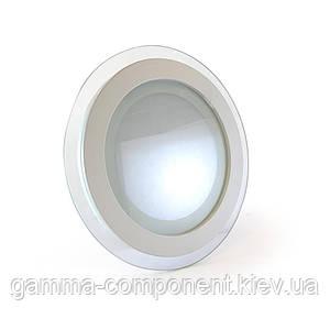 Светодиодный светильник точечный со стеклом 12Вт, круглый, белый, IP20