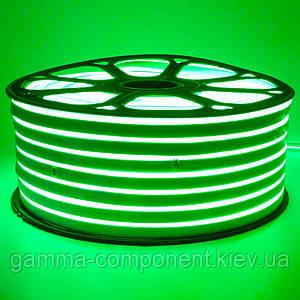 Світлодіодний неон 220В зелений smd 2835-120 лід/м 12Вт/м, герметичний. Бухта 50 метрів.