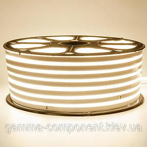 Світлодіодний неон 220В білий теплий smd 2835-120 лід/м 12Вт/м, герметичний. Бухта 50 метрів.