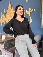 Трендовая стильная женская блуза с длинными рукавами р-ры 50-52,54-56