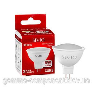 Светодиодная лампа SIVIO MR16 6W, GU5.3, 3000K, теплый белый