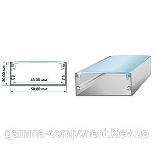 Алюминиевый профиль широкий анодированный для светодидных лент ПФ-27 накладной, 2м