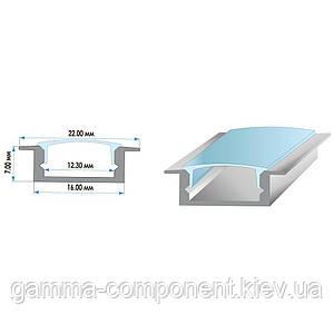 Алюминиевый врезной профиль анодированный для светодиодных лент ПФ-19, 2м