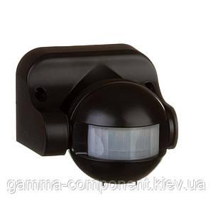 Датчик движения 1200Вт настенный накладной черный 180 градусов