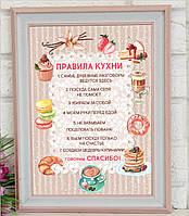 Постер Правила Кухни. Рамка  С Правилами Кухни. Подарок на новоселье