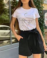 Женские шорты коттоновые на завышенной талии черный