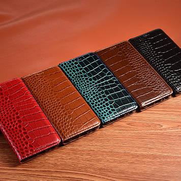 """Чехол книжка из натуральной премиум кожи противоударный магнитный для Huawei P40 lite E / Y7p """"CROCODILE"""""""
