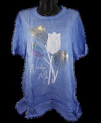 Жіноча футболка зі стразами Levisha 50298 4XL блакитна