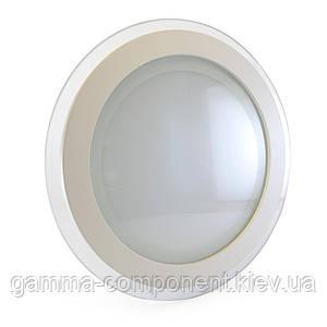 Светодиодный светильник точечный со стеклом 18Вт, круглый, теплый белый, IP20