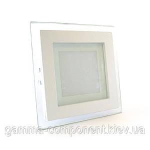 Светодиодный светильник точечный со стеклом 6Вт, квадратный, белый, IP20