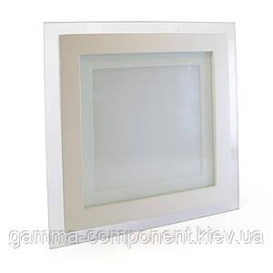 Светодиодный светильник точечный со стеклом 12Вт, квадратный, белый, IP20