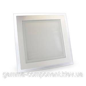 Светодиодный светильник точечный со стеклом 18Вт, квадратный, белый, IP20
