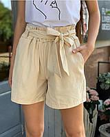 Женские шорты коттоновые на завышенной талии молочный