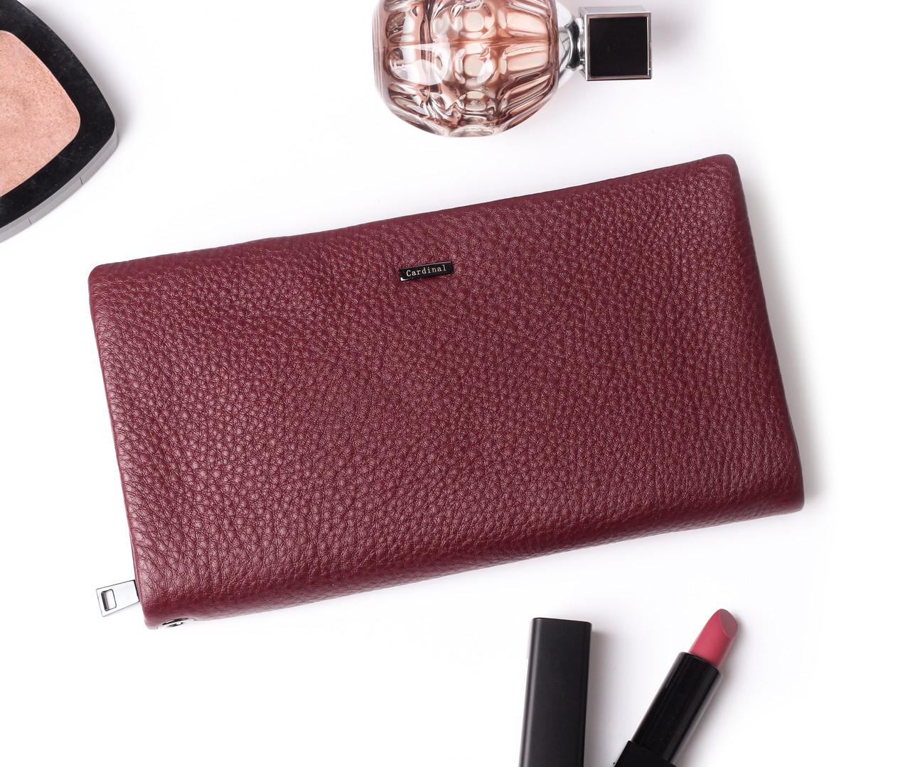 Жіночий бордовий гаманець Cardinal великий клатч з натуральної шкіри портмоне