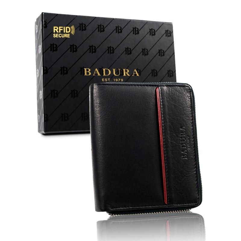 Чоловічий шкіряний гаманець Badura з RFID 13,5 х 11 х 2,5 (B-N31892-CAW) - чорний