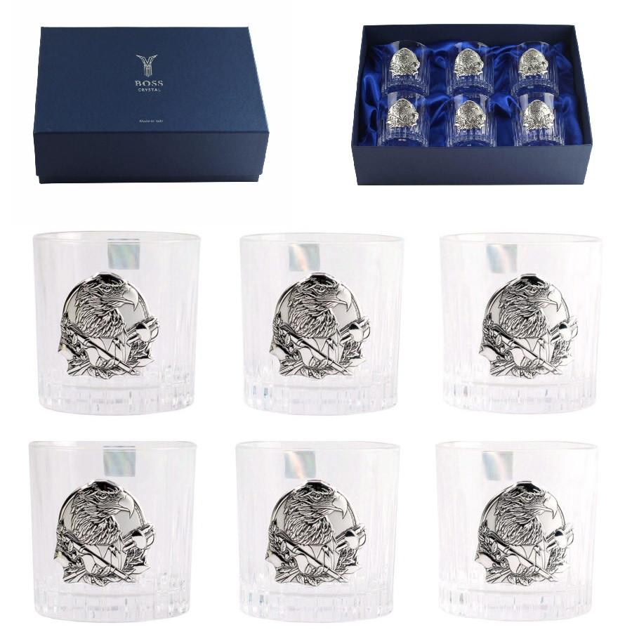 Набор хрустальных бокалов Boss Crystal «БОКАЛЫ ГЕНЕРАЛЬСКИЕ», 6 бокалов, серебро