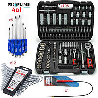 Набор инструментов 4в1 (108 ед. PROFLINE 61085 + Набор ключей 12 ед. +Набор отверток 6 шт+магнит )
