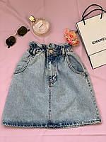 Женская светлая джинсовая юбка на резинке