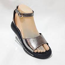 Босоножки женские, сандали натуральная кожа открытые на плоской подошве на узкую ногу Серебристые