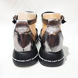 Босоножки женские, сандали натуральная кожа открытые на плоской подошве на узкую ногу Серебристые, фото 7