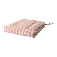 УЛЛА-МАЙ Подушка на стул, белый/красный 35/43x37x7 см