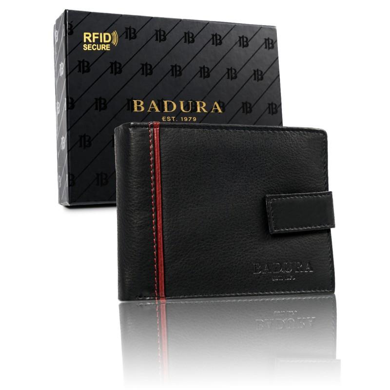 Чоловічий шкіряний гаманець Badura з RFID 9,5 х 12 х 2 (B-N30257-CAW) - чорний