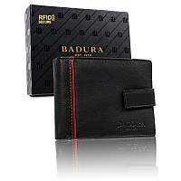 Чоловічий шкіряний гаманець Badura з RFID 9,5 х 12 х 2 (B-N30257-CAW) - чорний, фото 1