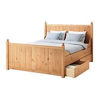 ГУРДАЛЬ Каркас кровати с 4 ящиками, светло-коричневый 160x200 см