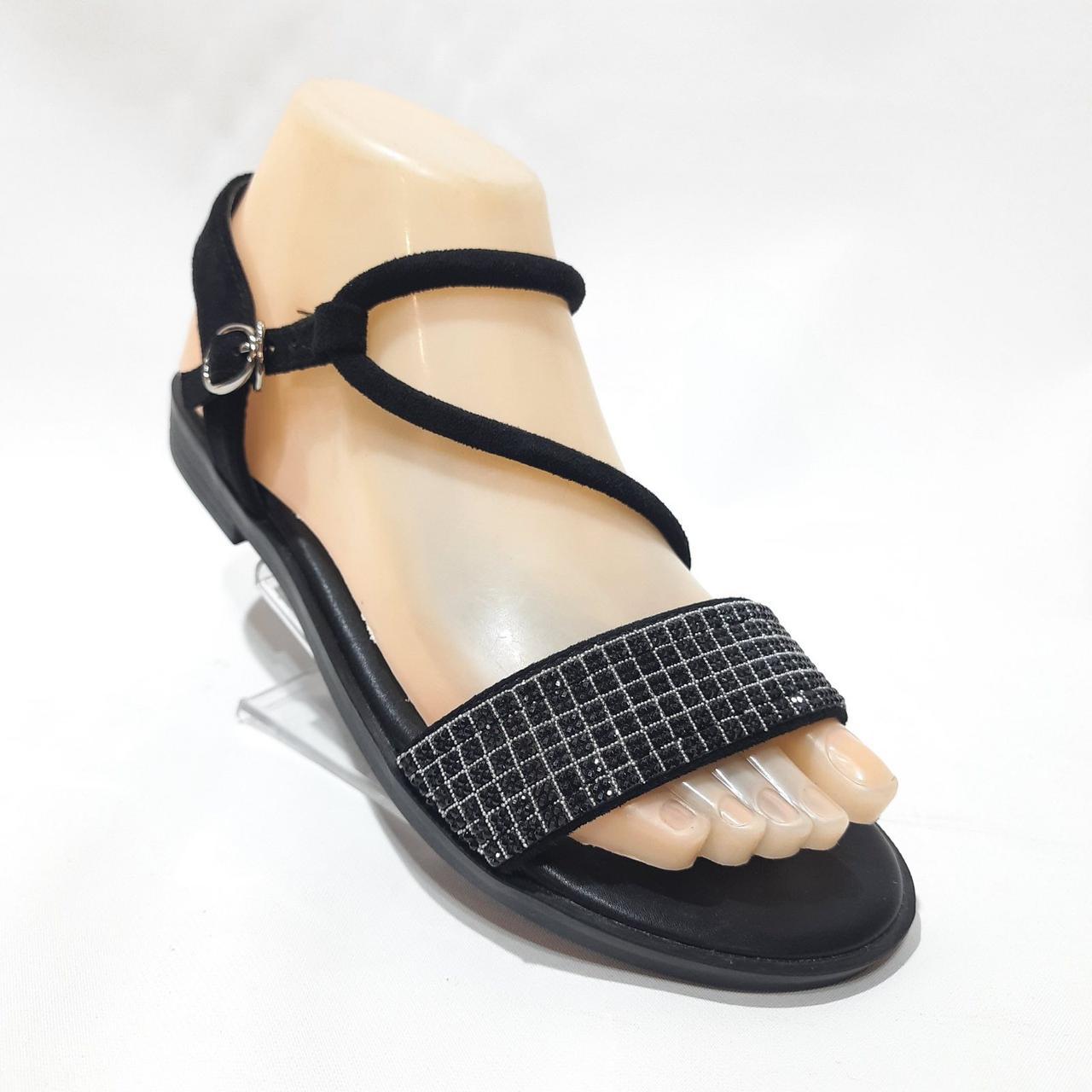 Босоніжки жіночі, сандалі з екошкіри текстилю на плоскій підошві Чорні