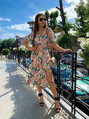 Легкое летнее платье миди с цветочным принтом