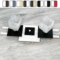 Люстра потолочная «Данко» на две лампочки с квадратными плафонами Бело-черный