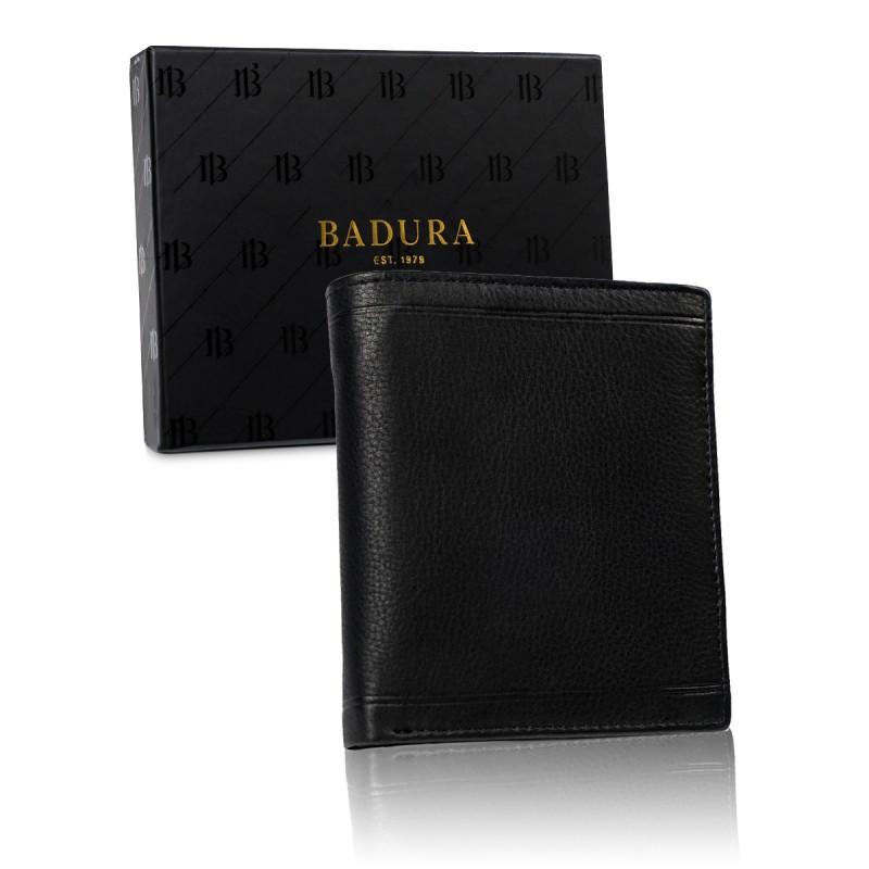 Чоловічий шкіряний гаманець Badura  з RFID 13 х 11 х 2 (B-N1018-CAW ) - чорний