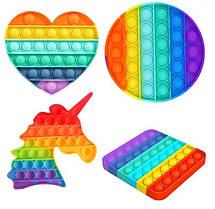 Ігровий набір Pop It для дівчаток Комплект з 4 штук: Коло, Квадрат, Серденько, Єдиноріг