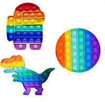 Ігровий набір Pop It для хлопчиків Комплект з 3-х штук: Коло, Амонг Ас, Динозавр