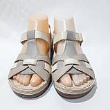 Босоніжки жіночі, сандалі натуральна шкіра ортопедична устілка на плоскій підошві на широку ногу Бежеві, фото 2