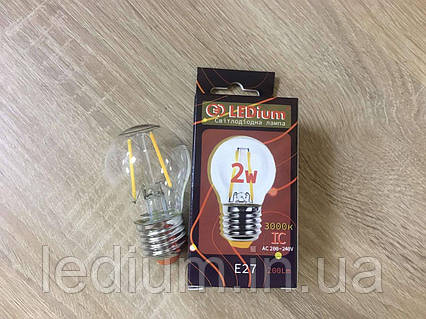 Лампа светодиодная Шар 2 ватта Е27 Filament G45 3000K LEDium