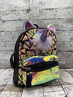 Детский рюкзак 8707 Рюкзак для девочки Единорог с ушками Чёрный